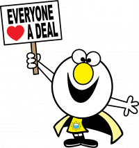 "BubbleBuddy holding ""everyone loves a deal"" sign"